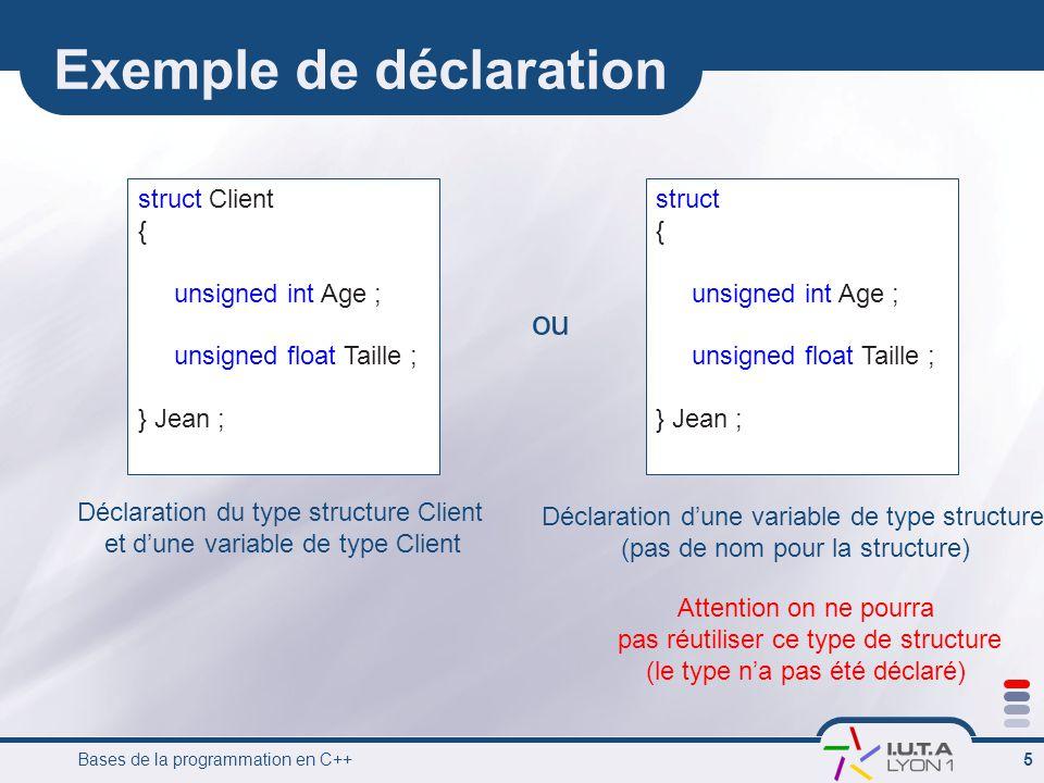 Exemple de déclaration