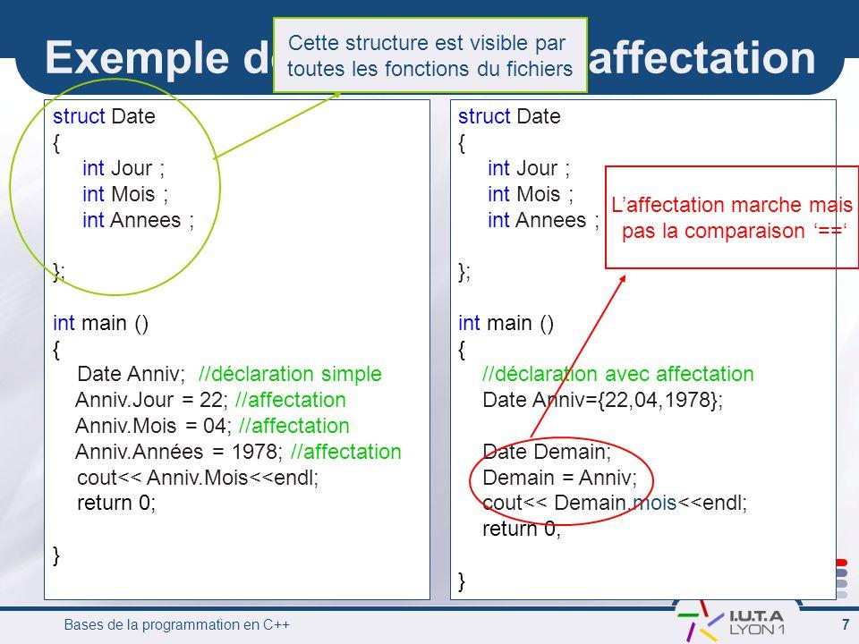 Exemple de déclaration / affectation