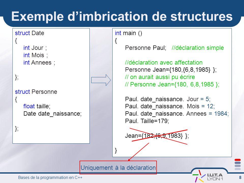 Exemple d'imbrication de structures