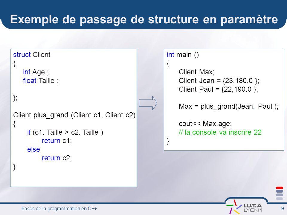 Exemple de passage de structure en paramètre