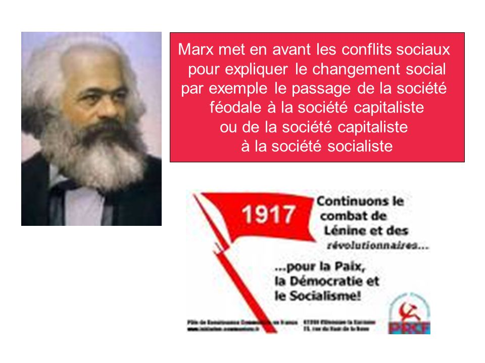 Marx met en avant les conflits sociaux