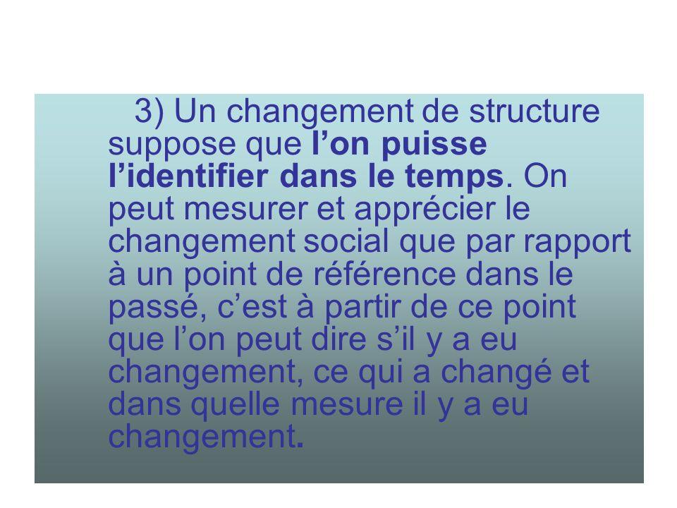 3) Un changement de structure suppose que l'on puisse l'identifier dans le temps.