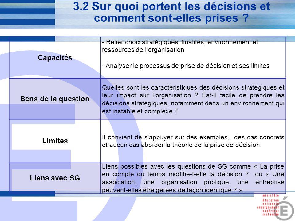 3.2 Sur quoi portent les décisions et comment sont-elles prises
