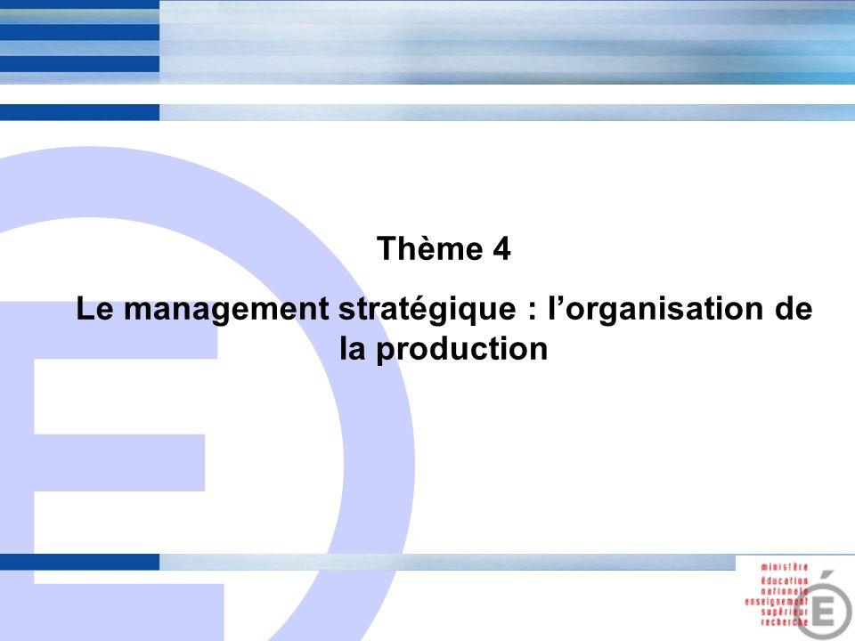 Le management stratégique : l'organisation de la production