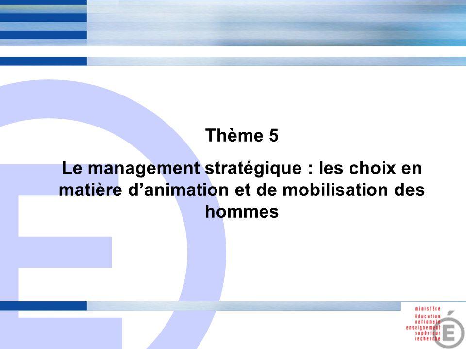Thème 5 Le management stratégique : les choix en matière d'animation et de mobilisation des hommes