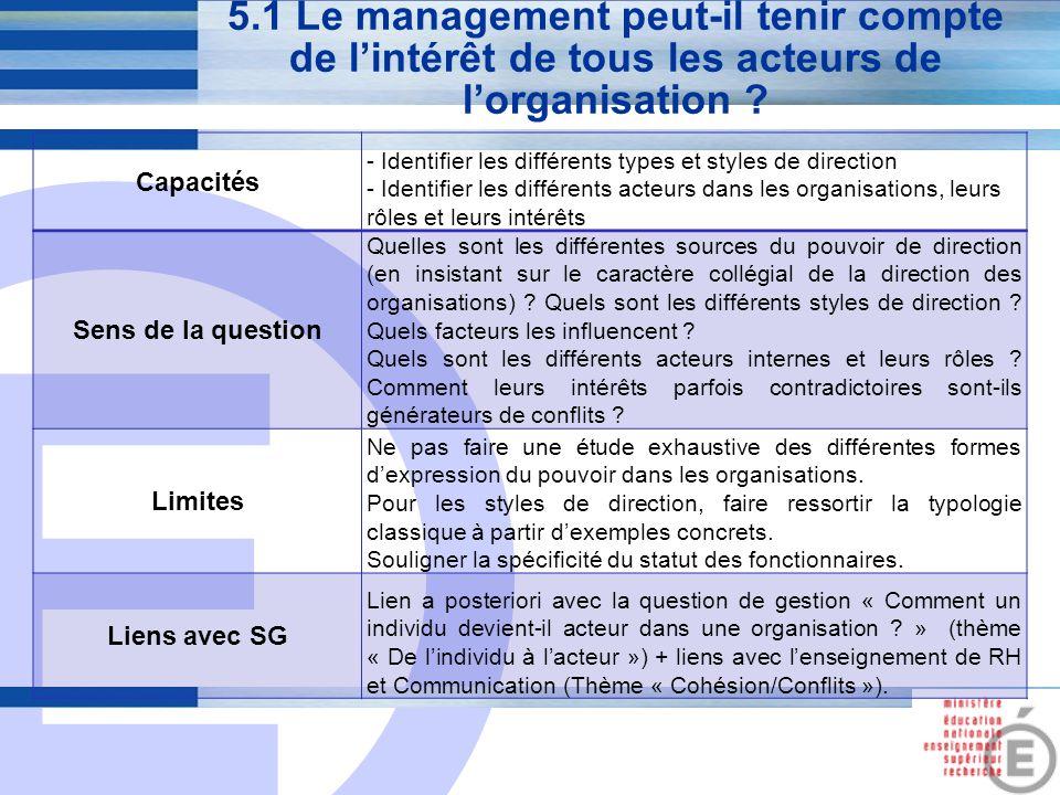 5.1 Le management peut-il tenir compte de l'intérêt de tous les acteurs de l'organisation