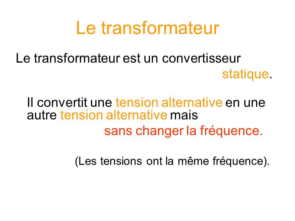 Le transformateur Le transformateur est un convertisseur statique.