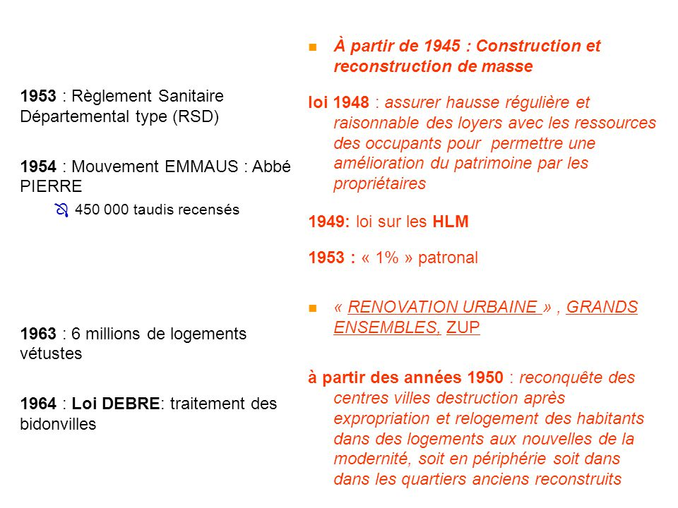 À partir de 1945 : Construction et reconstruction de masse