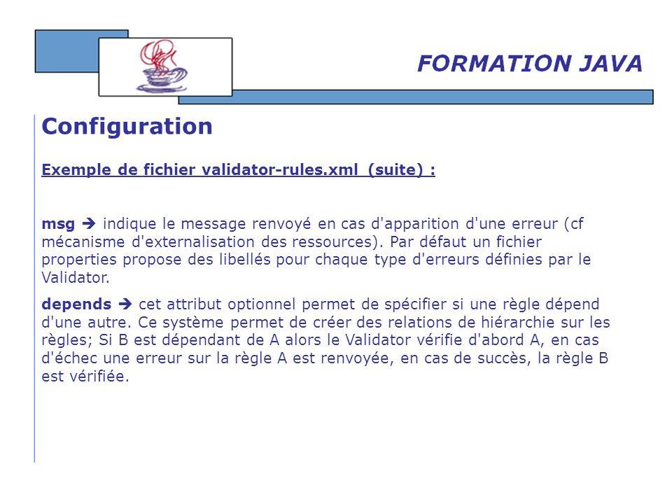 Configuration Exemple de fichier validator-rules.xml (suite) :
