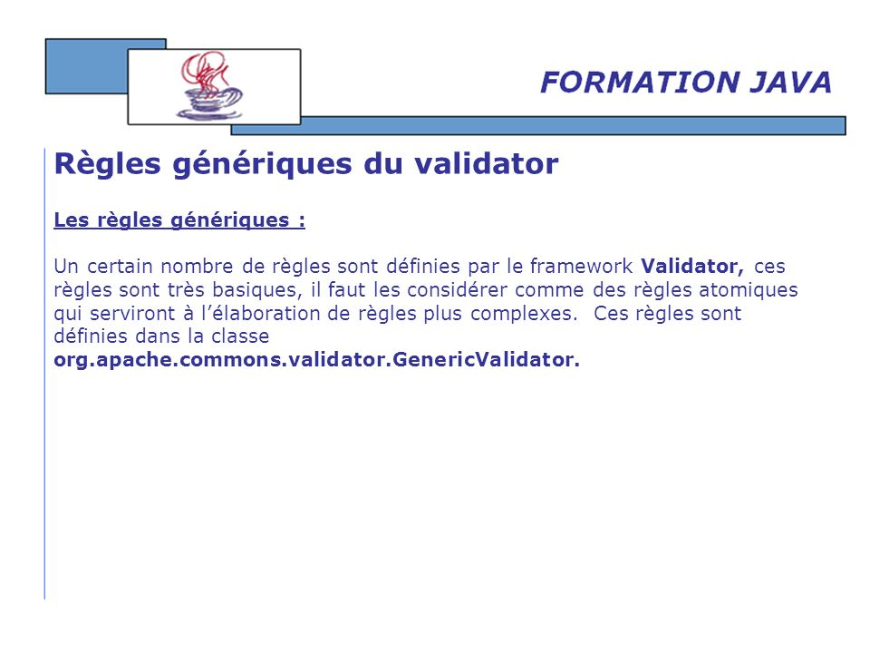 Règles génériques du validator