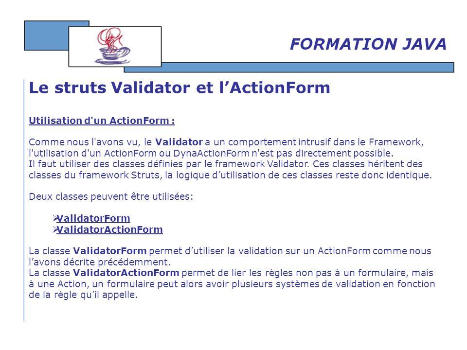 Le struts Validator et l'ActionForm