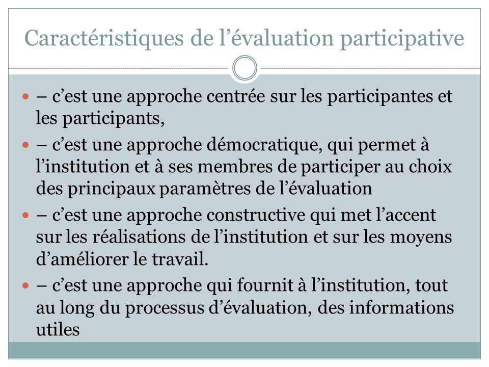 Caractéristiques de l'évaluation participative