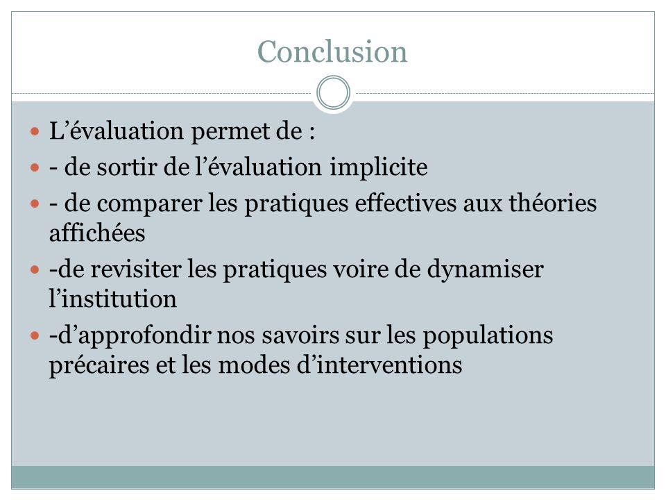 Conclusion L'évaluation permet de :