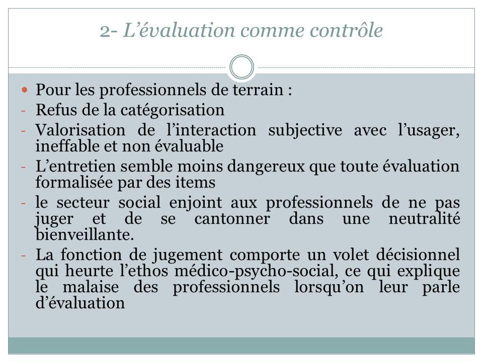 2- L'évaluation comme contrôle