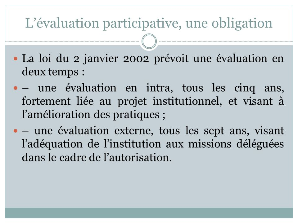 L'évaluation participative, une obligation