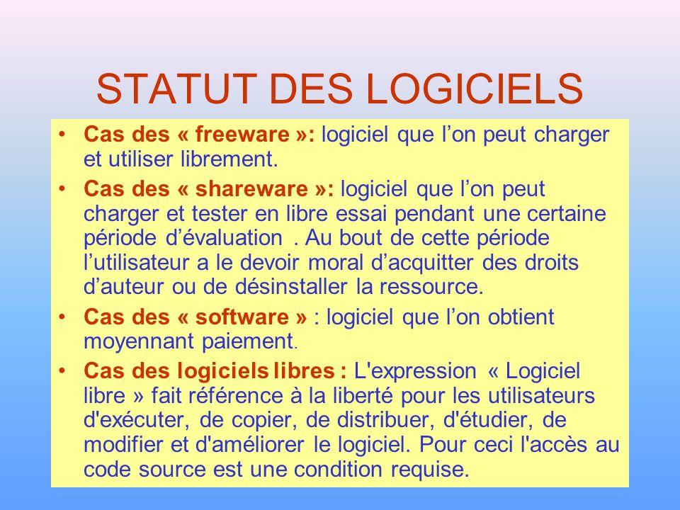 STATUT DES LOGICIELS Cas des « freeware »: logiciel que l'on peut charger et utiliser librement.