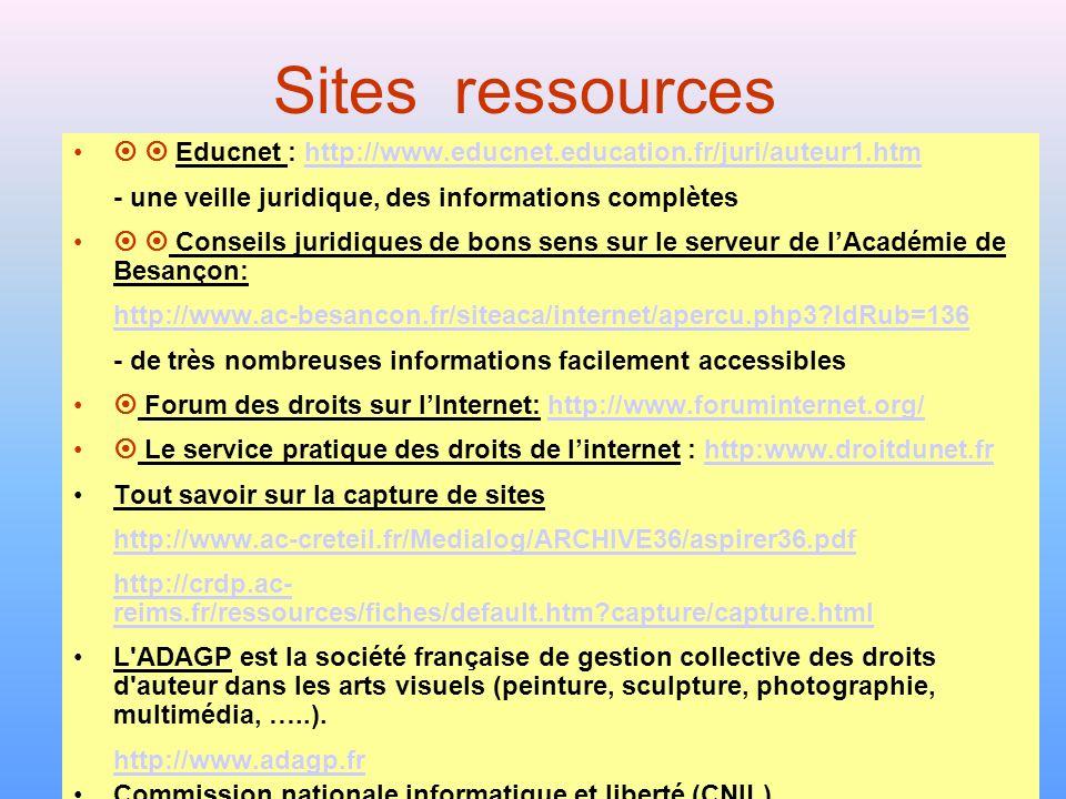 Sites ressources   Educnet : http://www.educnet.education.fr/juri/auteur1.htm. - une veille juridique, des informations complètes.