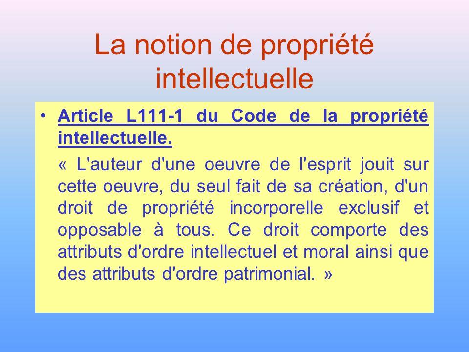La notion de propriété intellectuelle