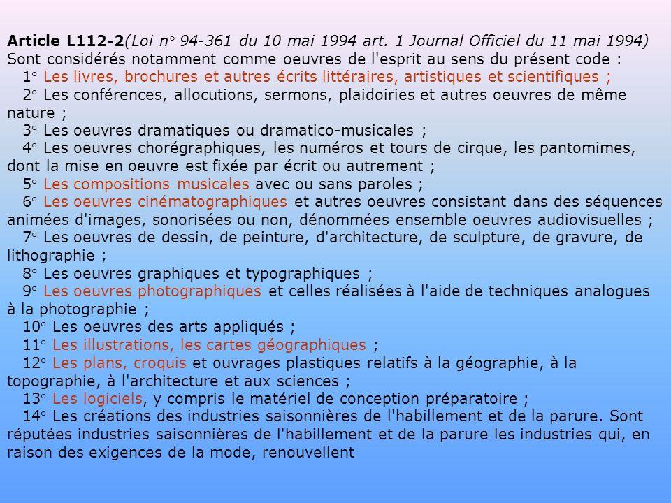 Article L112-2(Loi n° 94-361 du 10 mai 1994 art