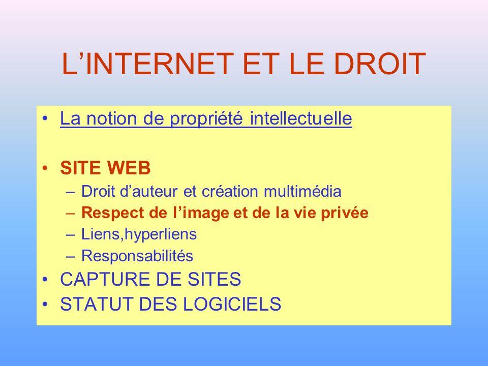 L'INTERNET ET LE DROIT La notion de propriété intellectuelle SITE WEB