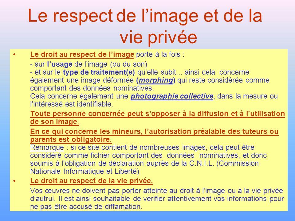 Le respect de l'image et de la vie privée