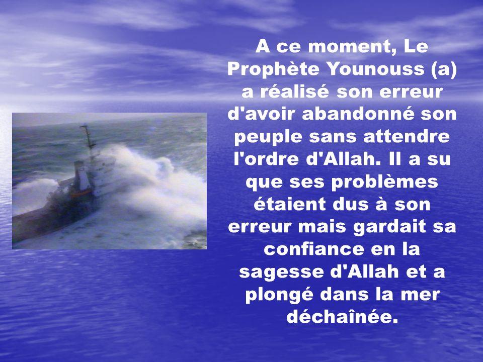 A ce moment, Le Prophète Younouss (a) a réalisé son erreur d avoir abandonné son peuple sans attendre l ordre d Allah. Il a su que ses problèmes étaient dus à son erreur mais gardait sa confiance en la sagesse d Allah et a plongé dans la mer déchaînée.