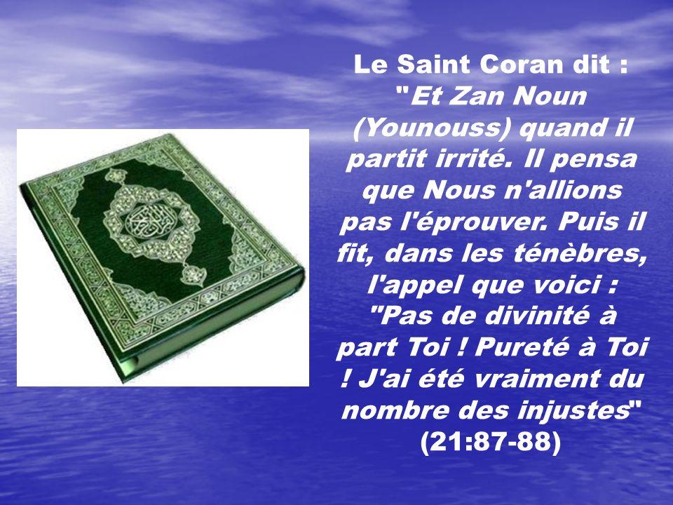 Le Saint Coran dit : Et Zan Noun (Younouss) quand il partit irrité