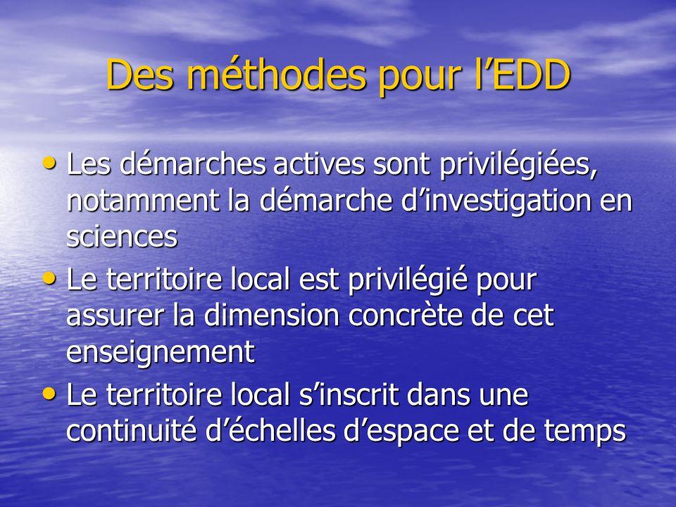 Des méthodes pour l'EDD