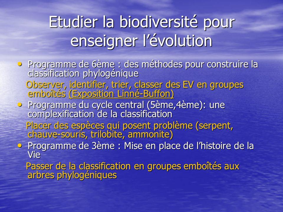 Etudier la biodiversité pour enseigner l'évolution