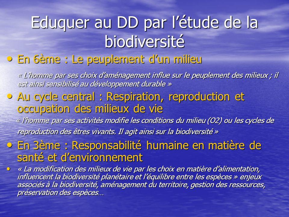 Eduquer au DD par l'étude de la biodiversité