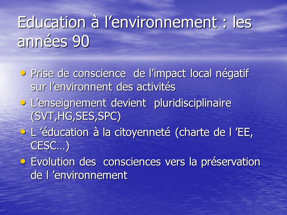 Education à l'environnement : les années 90