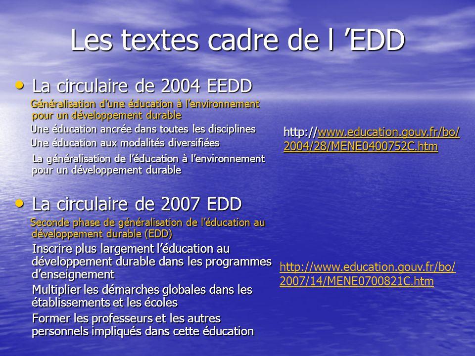 Les textes cadre de l 'EDD