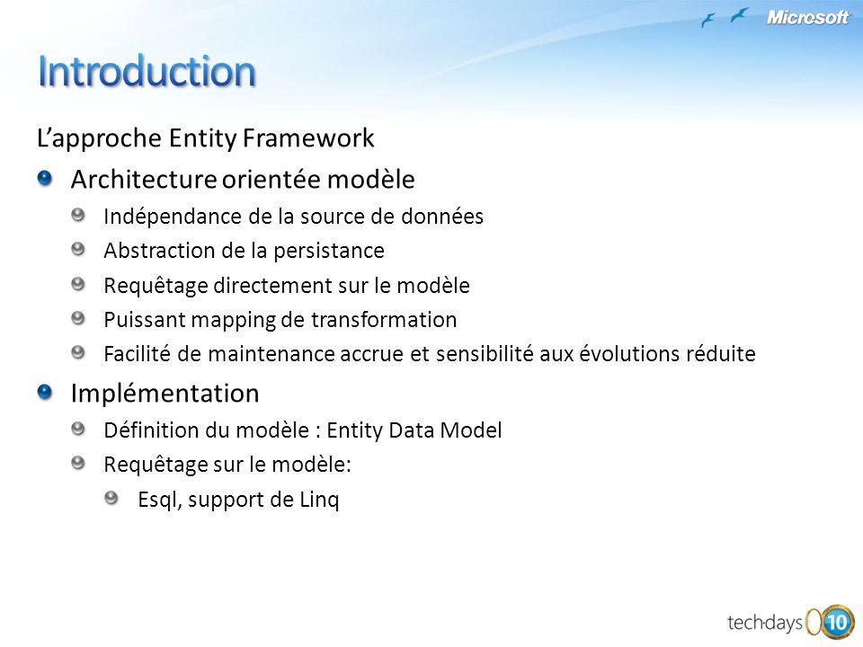 Introduction L'approche Entity Framework Architecture orientée modèle