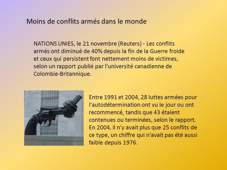 Moins de conflits armés dans le monde