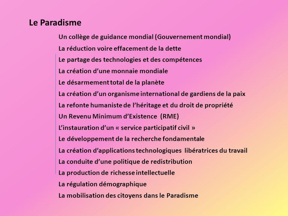 Le Paradisme Un collège de guidance mondial (Gouvernement mondial)