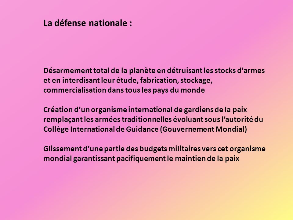 La défense nationale :