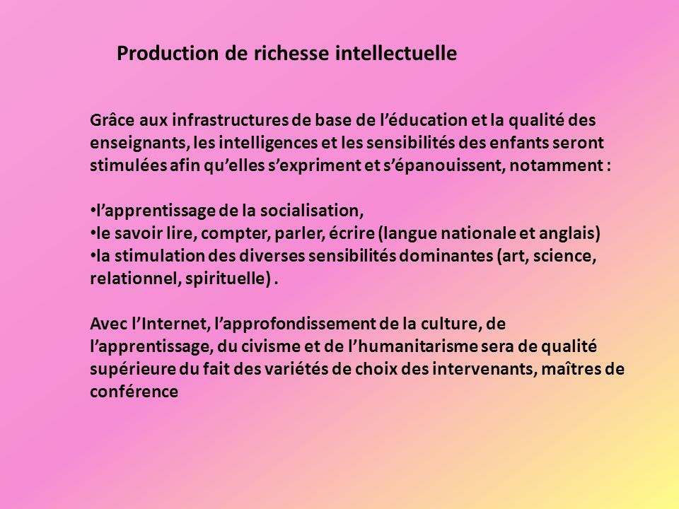 Production de richesse intellectuelle