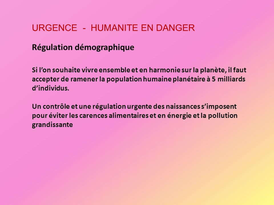 URGENCE - HUMANITE EN DANGER
