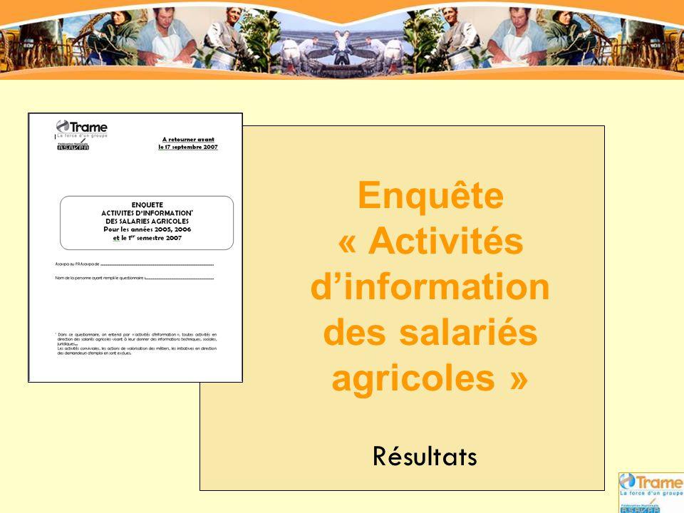 Enquête « Activités d'information des salariés agricoles »