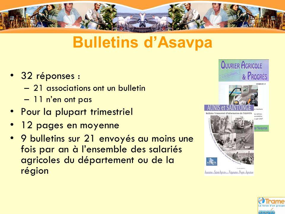 Bulletins d'Asavpa 32 réponses : Pour la plupart trimestriel