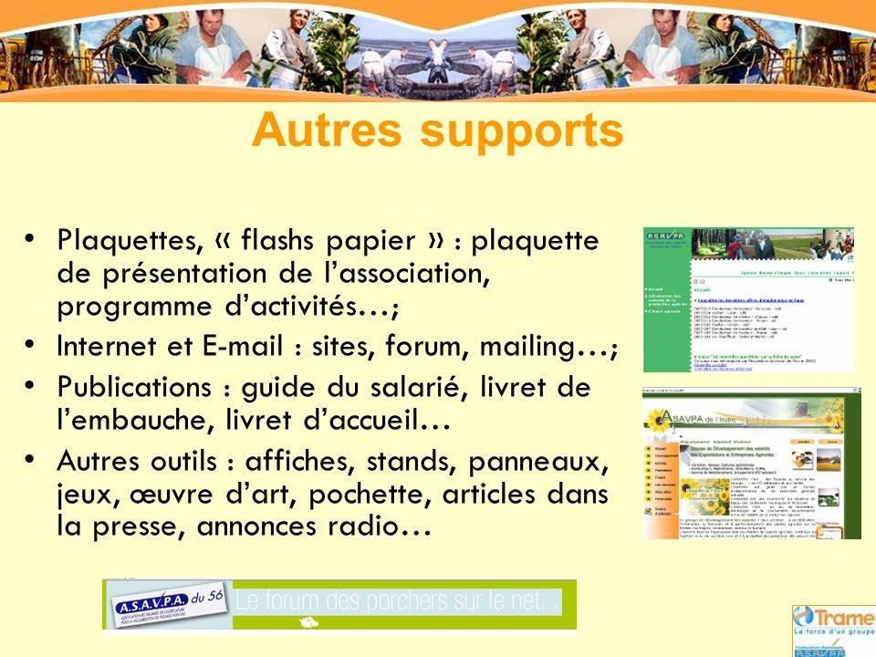 Autres supports Plaquettes, « flashs papier » : plaquette de présentation de l'association, programme d'activités…;