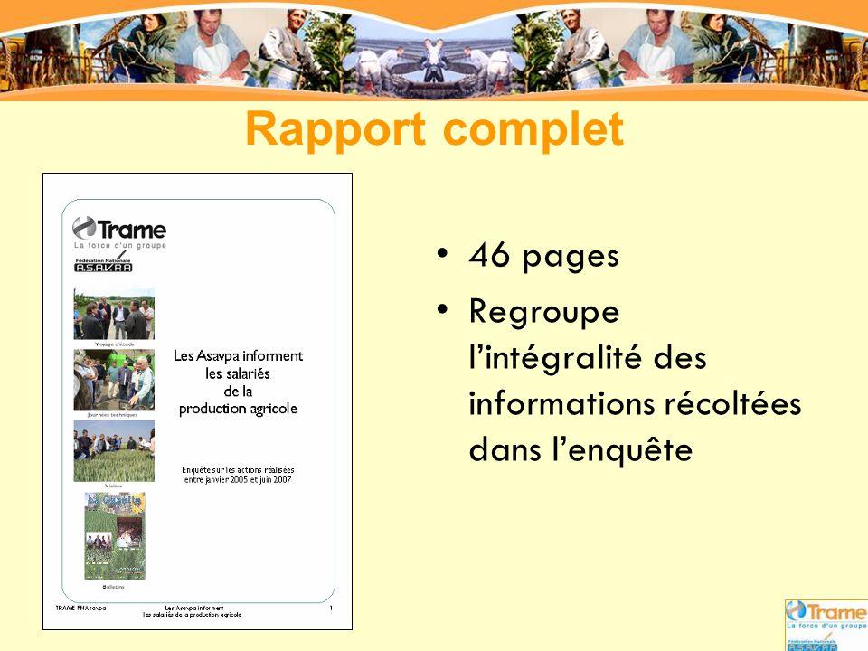 Rapport complet 46 pages Regroupe l'intégralité des informations récoltées dans l'enquête