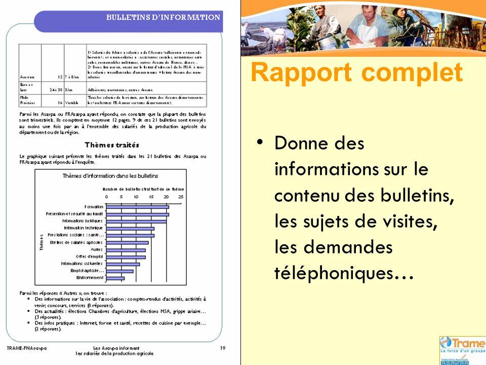 Rapport complet Donne des informations sur le contenu des bulletins, les sujets de visites, les demandes téléphoniques…