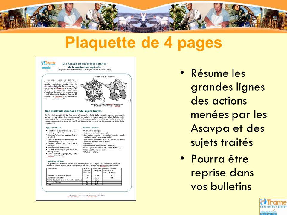 Plaquette de 4 pages Résume les grandes lignes des actions menées par les Asavpa et des sujets traités.