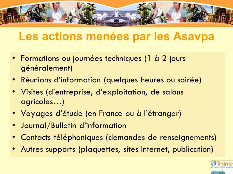 Les actions menées par les Asavpa
