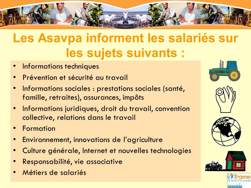 Les Asavpa informent les salariés sur les sujets suivants :