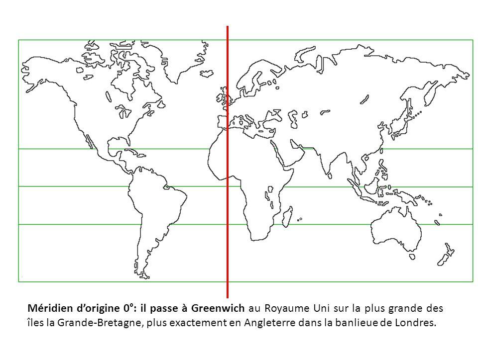 Méridien d'origine 0°: il passe à Greenwich au Royaume Uni sur la plus grande des îles la Grande-Bretagne, plus exactement en Angleterre dans la banlieue de Londres.