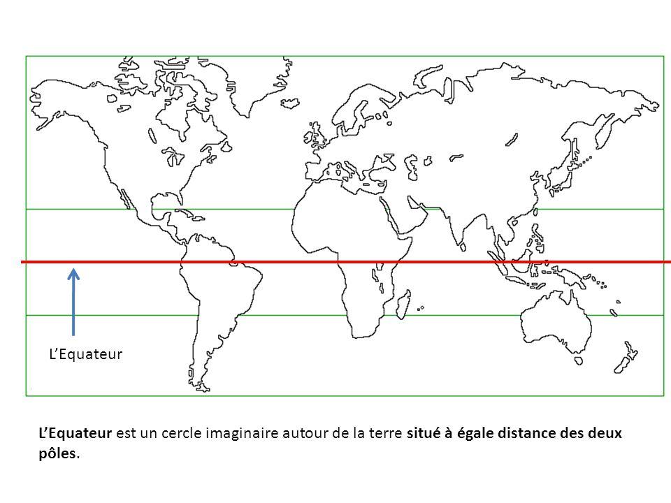 L'Equateur L'Equateur est un cercle imaginaire autour de la terre situé à égale distance des deux pôles.