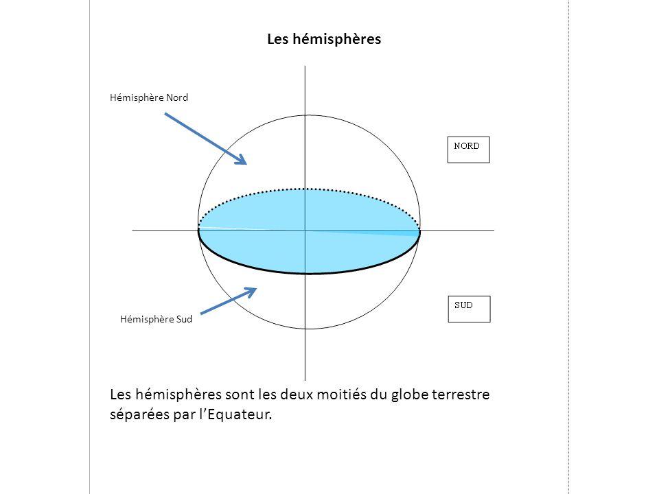 Les hémisphères Hémisphère Nord. Hémisphère Sud.