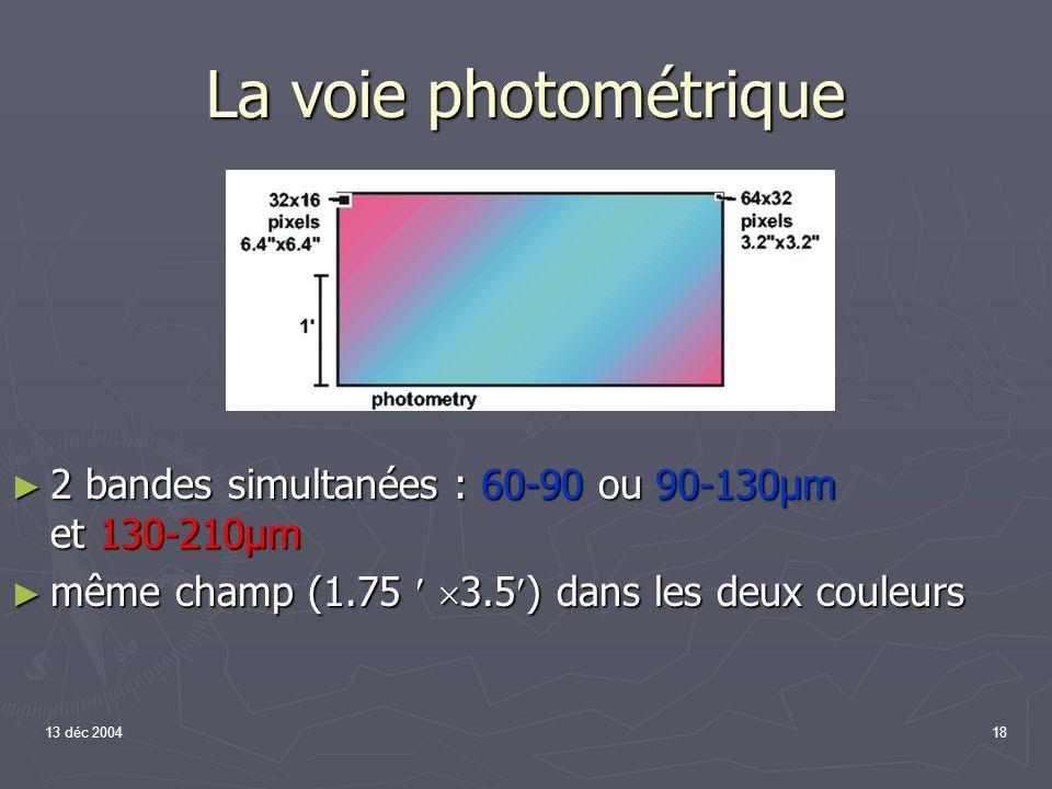 La voie photométrique 2 bandes simultanées : 60-90 ou 90-130µm et 130-210µm. même champ (1.75  3.5) dans les deux couleurs.